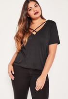 Missguided Plus Size Black Cross Front T-Shirt