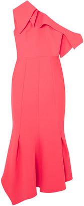 Safiyaa Juniper One-shoulder Stretch-crepe Midi Dress