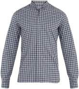 Lanvin Granddad-collar single-cuff checked cotton shirt