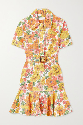 Zimmermann Poppy Belted Ruffled Floral-print Linen Mini Dress - Yellow