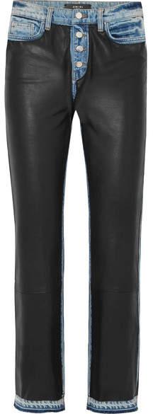 Amiri Paneled Leather And Denim High-rise Straight-leg Jeans - Black
