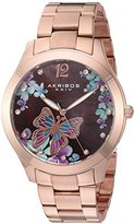 Akribos XXIV Women's Rose-Tone Case with Genuine Swarovski Crystals and Brown Mother-of-Pearl with Butterfly Dial on Rose-Tone Stainless Steel Bracelet Watch AK953BRG