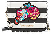 Betsey Johnson Many Blooms Striped Flower-Appliqued Scalloped Cross-Body Bag