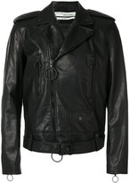 Off-White arrow biker jacket - men - Leather/Viscose - S