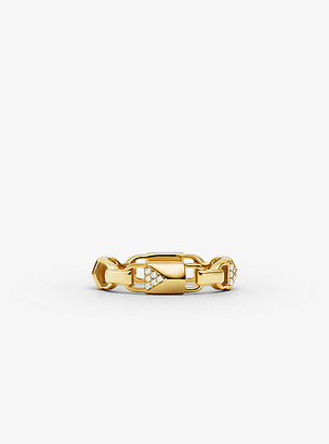 Michael Kors Precious Metal-Plated Sterling Silver Pave Mercer Link Ring