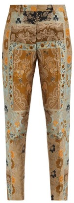 Etro Bristol High-rise Floral-brocade Slim-leg Trousers - Silver