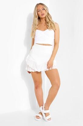 boohoo Shirred Frill Lace Hem Mini Skirt