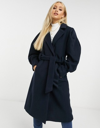 Y.A.S wool tailored coat with tie waist in navy