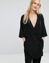 Monki Pinstripe Kimono Sleeve Blazer