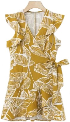Goodnight Macaroon 'Rima' Frilly Wrap Tied Leaf Pattern Dress (2 Colors)