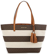 MICHAEL Michael Kors Striped Canvas Tasseled Large East/West Tote