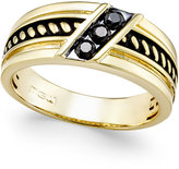 Macy's Men's Black Diamond Antique-Look Three-Stone Band (1/4 ct. t.w.) in Black Enamel and 10k Gold