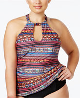 Jessica Simpson Plus Size Printed High-Neck Keyhole Tankini Top