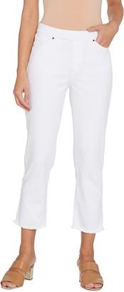Susan Graver Petite Stretch Denim Pull-On Crop Pants - White