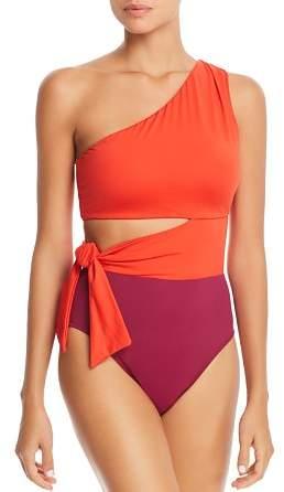 Glamour Color-Block Cutout One Piece Swimsuit