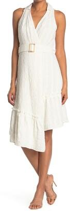 Harlyn V-Neck Midi Dress w/ Asymmetrical Hem