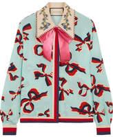 Gucci Embellished Printed Silk Crepe De Chine Shirt - Mint