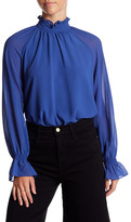 Soprano Long Sleeve Mock Neck Blouse