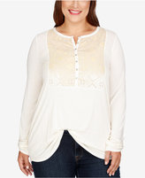 Lucky Brand Trendy Plus Size Henley Top