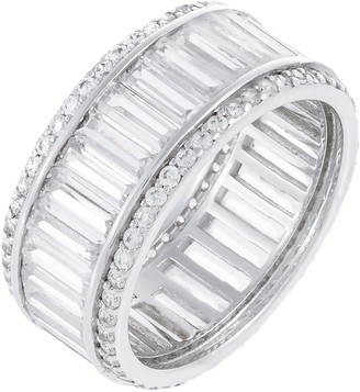 Diamonique 14.20 cttw Baguette & Round Band Ring, Sterling