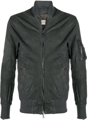Giorgio Brato Distressed Leather Bomber Jacket