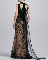 Oscar de la Renta Beaded Tulle Trumpet Gown, Black/Nude