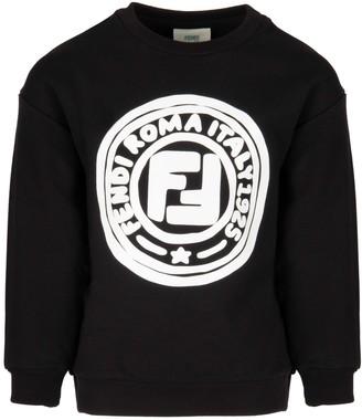 Fendi Black Sweatshirt For Kids With Double Ff