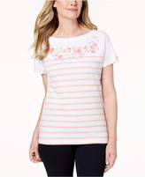 Karen Scott Petite Embroidered T-Shirt, Created for Macy's