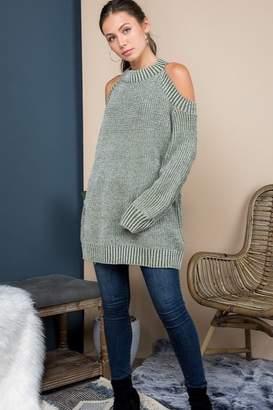 Blue B Mock Neck Cold Shoulder Sweater