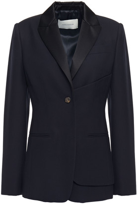 Cédric Charlier Layered Satin-trimmed Wool-pique Tuxedo Jacket