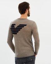 Armani Jeans Colour Block Logo Crew Neck Knit