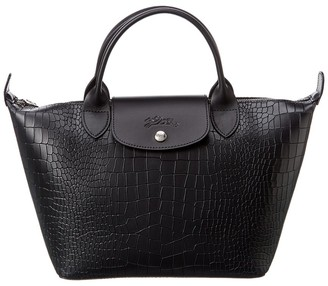 Longchamp Le Pliage Cuir Small Croc-Embossed Leather Tote
