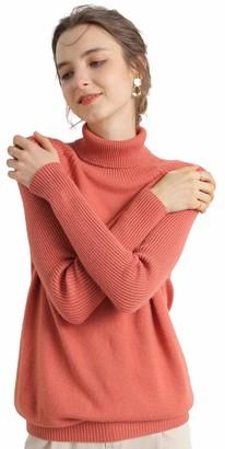 Liny Xin Women's Merino Wool Knitted Long Sleeve Soft Lightweight Fall Winter Warm Ladies Sweater Turtleneck Jumper (M Olive)