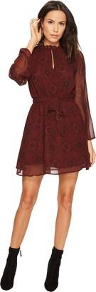 BB Dakota Women's Branton Printed Fit N Flare Chiffon Dress