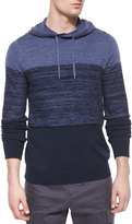 Vince Cashmere-Blend Striped Hooded Sweater, Navy/Blue