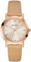 Bulova Women's Beige Leather Strap Watch