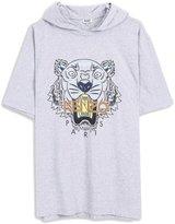 Kenzo Men's Grey Tiger Head Tee Shirt wt Hooded