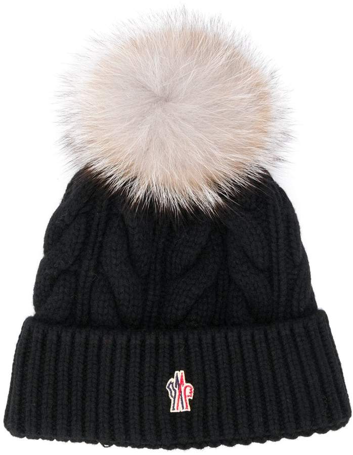 895d765bc fox fur pom pom beanie hat