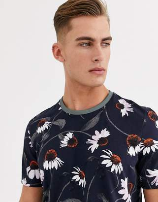Ted Baker t-shirt with daisy print in navy