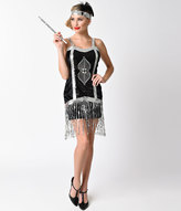 Dreamgirl Black & Silver Sequin Simply Fab Fringe Flapper Costume