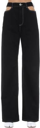 Maison Margiela Lvr Exclusive Cut Out Cotton Denim Jeans
