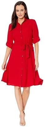 Lauren Ralph Lauren Fit-and-Flare Shirtdress (Lipstick Red) Women's Dress