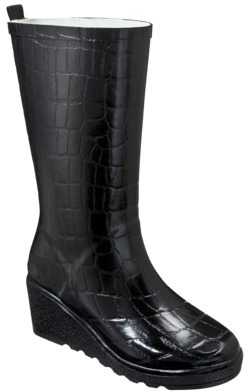 Merona Women's Zuri Wedge Rain Boot - Black