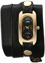 La Mer Women's 'Soho Wrap' Quartz Gold-Tone and Leather Casual Watch, Color:Black (Model: LMSOHO1004)