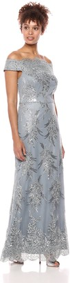 Ignite Women's Off The Shoulder Sequined Embroidered Gown