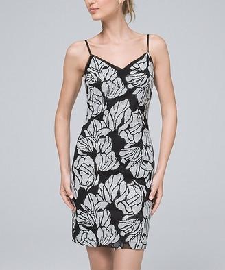 White House Black Market Women's Casual Dresses Black - Black & Ecru Floral Sequin Sleeveless V-Neck Dress - Women