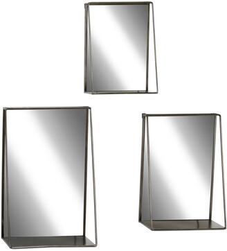 Uma Enterprises Set Of 3 Industrial Metal Rectangular Wall Mirrors