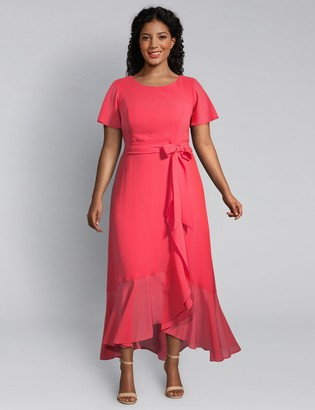 Lane Bryant Flounce-Sleeve Ruffle Midi Dress
