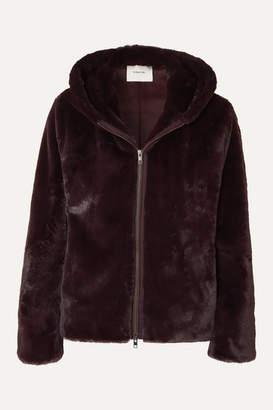 Vince Hooded Faux Fur Jacket - Merlot
