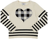 Autumn Cashmere Plaid-Heart Merino Wool-Blend Sweater-CREAM